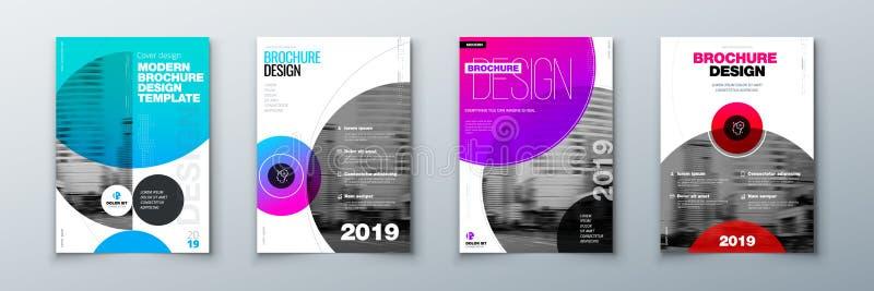 Projeto brilhante da tampa do folheto do círculo Disposição do molde para o informe anual, o compartimento, o catálogo, o inseto  ilustração stock