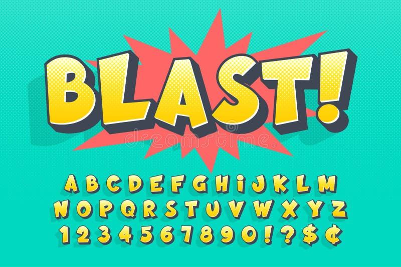 Projeto cômico na moda da fonte 3d, alfabeto colorido ilustração stock