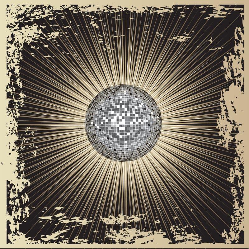 Projeto CD da tampa do grunge do vetor com disco-esfera ilustração do vetor