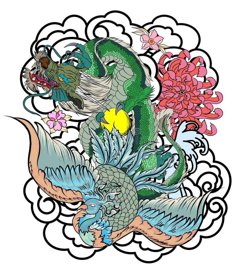 Projeto chinês da tatuagem do dragão e do pavão o pêssego com peônia e a ameixa florescem no fundo da nuvem ilustração do vetor