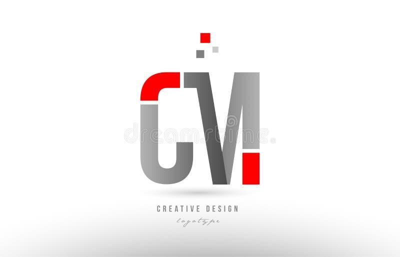 projeto cinzento vermelho do ícone da combinação do logotipo do cm c m da letra do alfabeto ilustração royalty free
