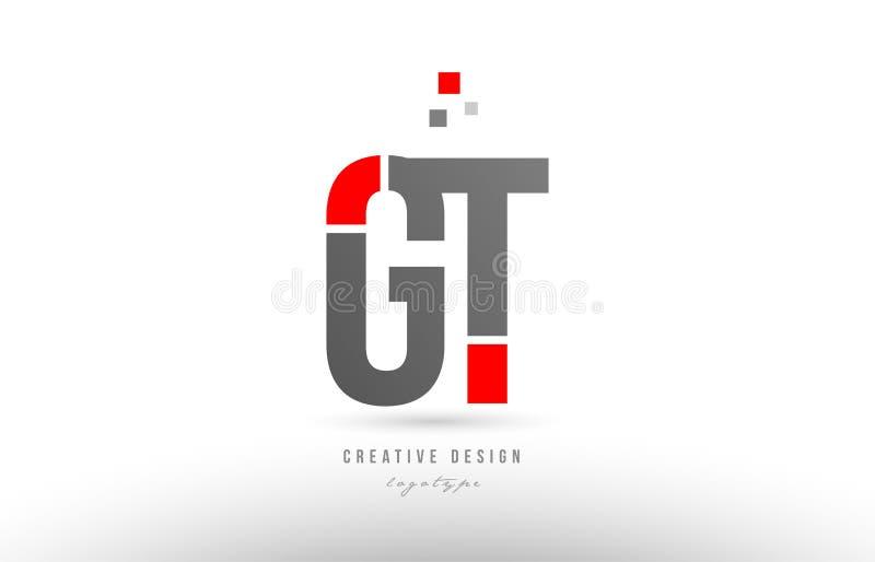 projeto cinzento vermelho do ícone da combinação do logotipo da GT g t da letra do alfabeto ilustração do vetor