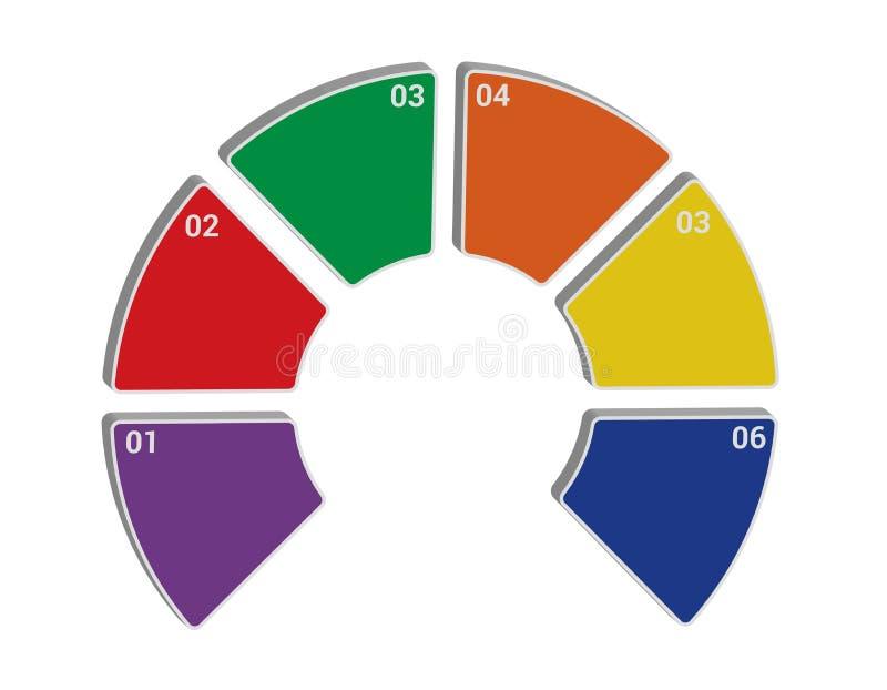 Projeto circular do molde de Infographic 3d ilustração do vetor