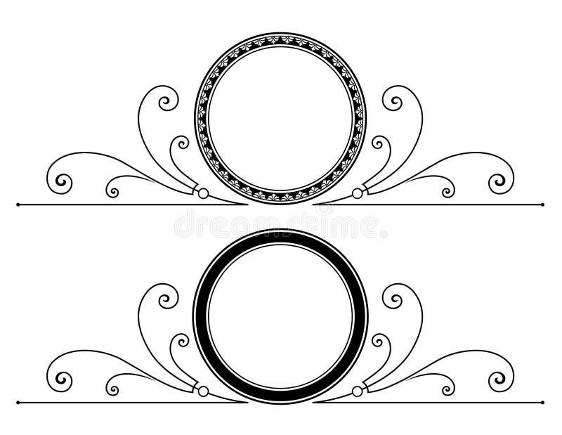 Projeto circular do quadro com rolos ilustração do vetor