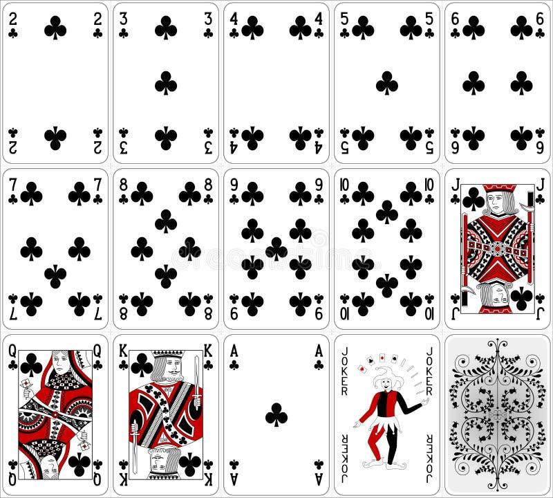 Projeto clássico de duas cores ajustado do clube dos cartões do pôquer ilustração stock
