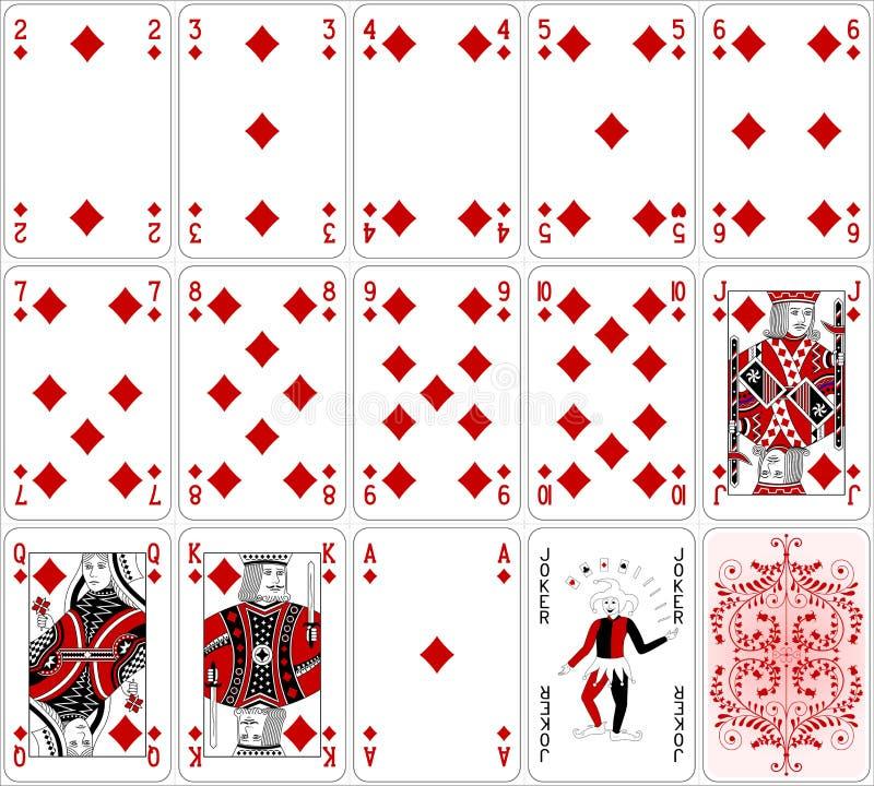 Projeto clássico de duas cores ajustado do diamante dos cartões do pôquer ilustração do vetor