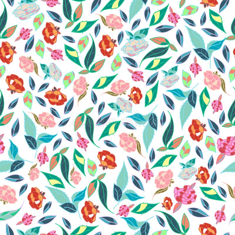 Projeto clássico tirado das flores bonitas do estilo mão retro com vetor sem emenda do teste padrão do fundo brilhante ilustração do vetor