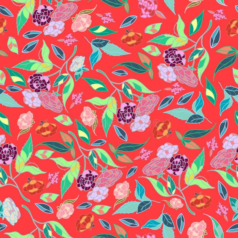 Projeto clássico tirado das flores bonitas do estilo mão retro com vetor sem emenda do teste padrão do fundo brilhante ilustração stock