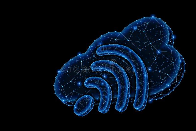 Projeto claro poligonal do sumário do armazenamento da nuvem com sinal de Wi-Fi ilustração do vetor