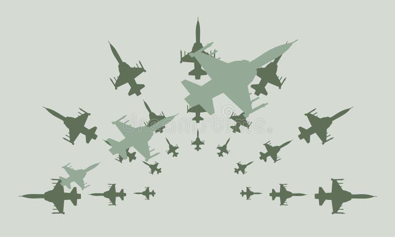Projeto Clipart do vetor dos aviões de combate do exército ilustração royalty free