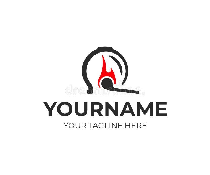 Projeto colocando do logotipo da terapia Projeto colocando do vetor do fogo ilustração do vetor