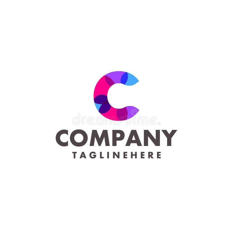Projeto colorido abstrato do logotipo da letra C para a empresa de negócio com cor de néon moderna ilustração royalty free