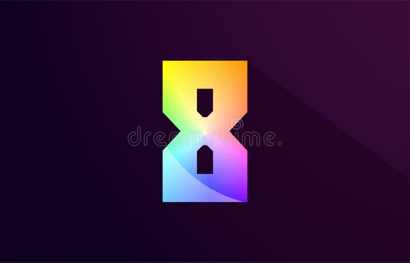 8 projeto colorido arco-íris do ícone do logotipo de oito números ilustração do vetor