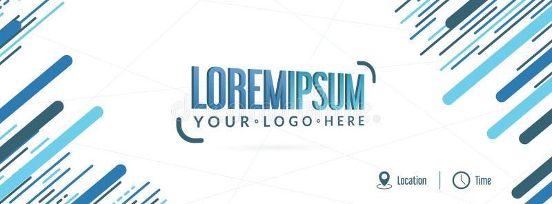 Projeto colorido azul abstrato da bandeira do evento, ilustração editável, lugar para seu logotipo ilustração royalty free