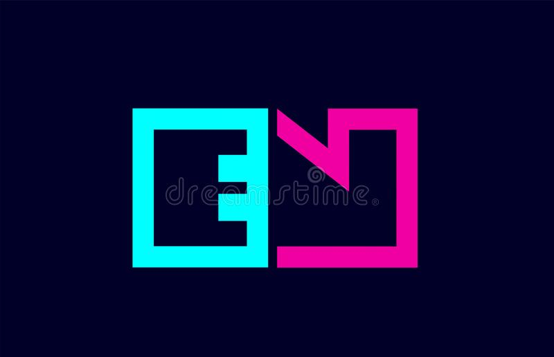 Projeto colorido cor-de-rosa azul da combinação do logotipo da letra do alfabeto do alfabeto do EN E N ilustração royalty free