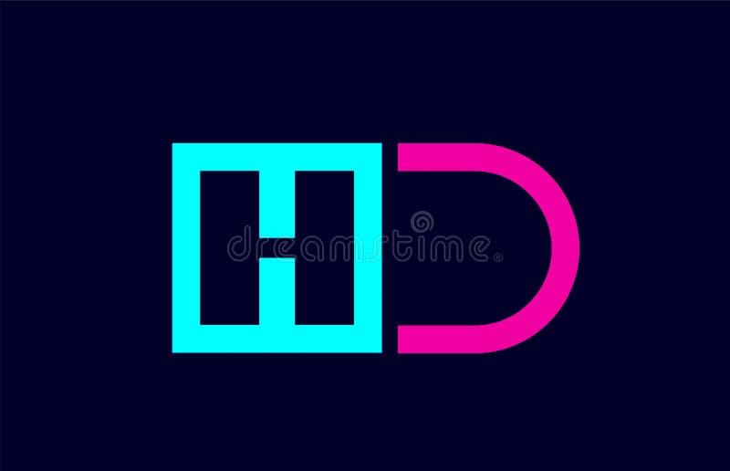 Projeto colorido cor-de-rosa azul da combinação do logotipo da letra do alfabeto do alfabeto de HD H D ilustração stock