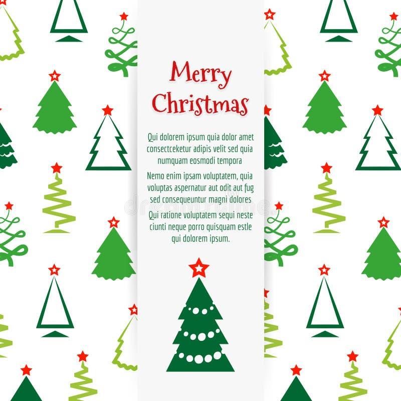 Projeto colorido da bandeira da árvore de Natal ilustração do vetor