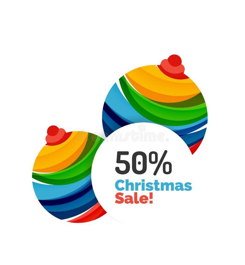 Projeto colorido da bandeira do sumário da venda do Natal com bolhas ilustração stock