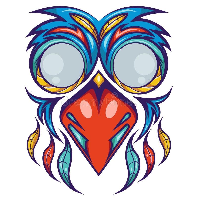 Projeto colorido da camisa da máscara do pássaro ilustração royalty free