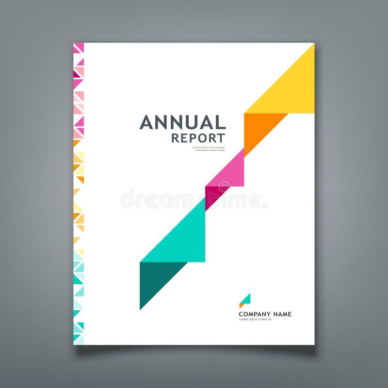 Projeto colorido da disposição do papel do triângulo do informe anual da tampa ilustração do vetor