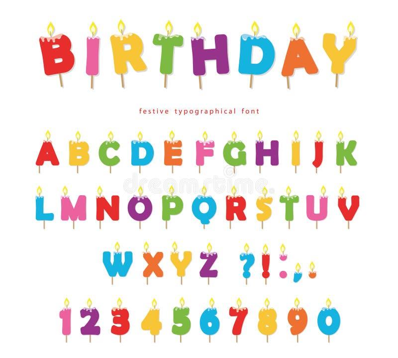 Projeto colorido da fonte das velas do aniversário Letras brilhantes e números festivos de ABC isolados no branco ilustração royalty free