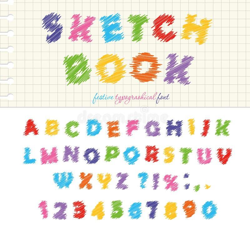 Projeto colorido da fonte do bloco de desenho ABC rabisca letras arranhado e números isolado ilustração do vetor