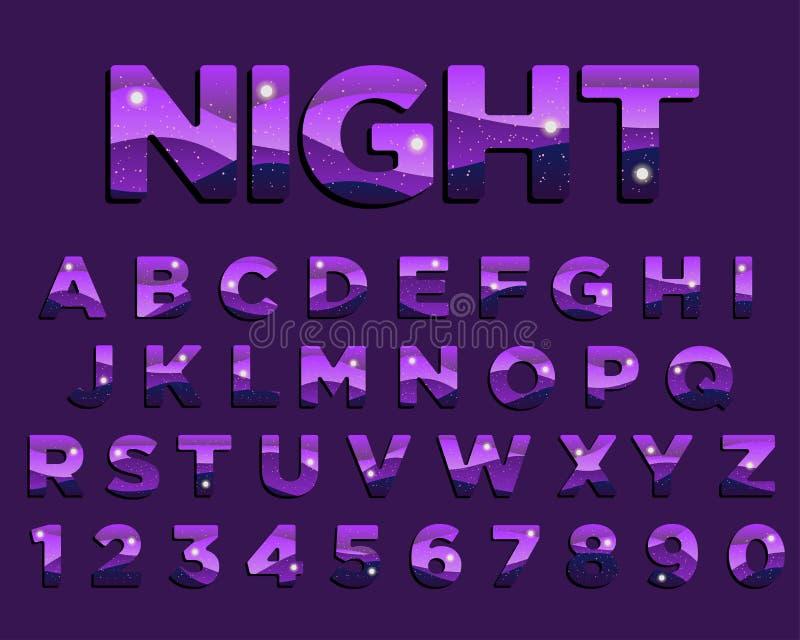 Projeto colorido da tipografia do roxo abstrato da noite ilustração stock