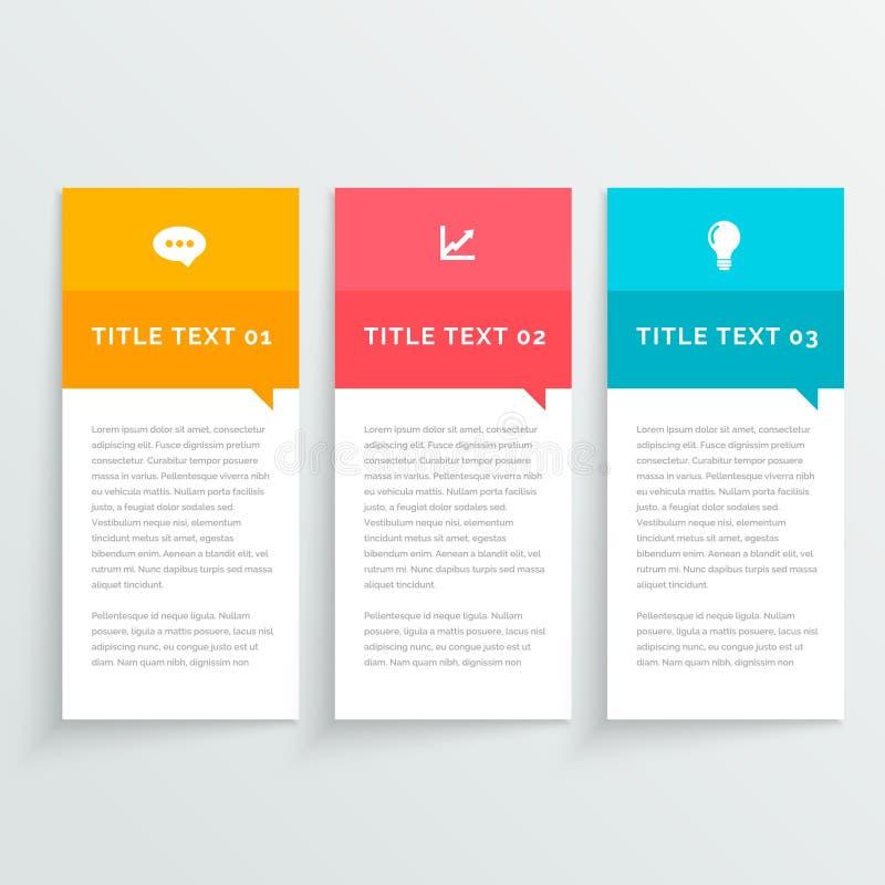 Projeto colorido de Infographic com a bandeira de três opções imagem de stock royalty free
