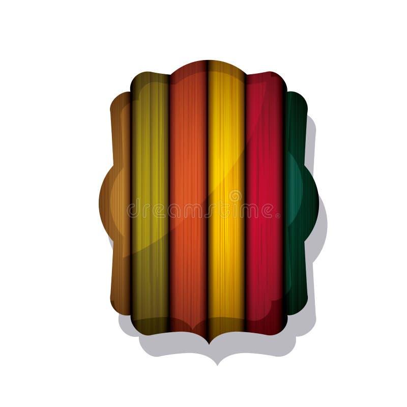 Projeto colorido de madeira e listrado do quadro ilustração do vetor