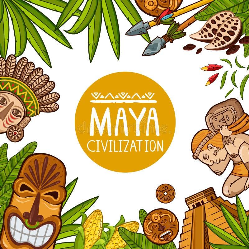 Projeto colorido do cartaz sobre a civilização do Maya ilustração do vetor
