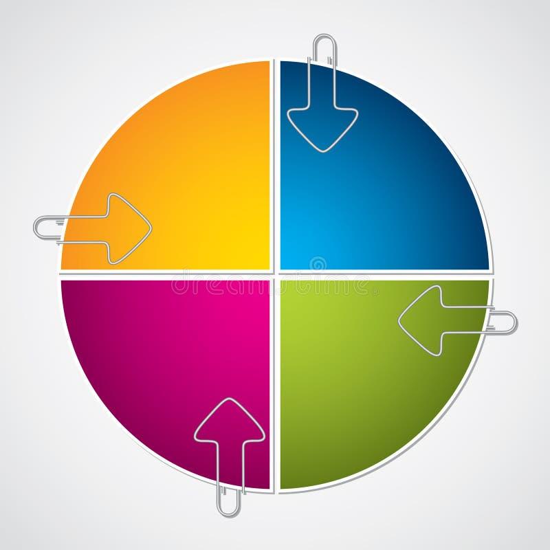 Projeto colorido do diagrama com os grampos de papel da seta ilustração do vetor