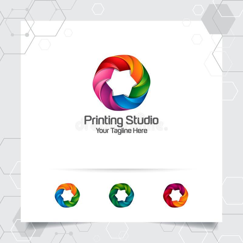 Projeto colorido do logotipo do círculo com conceito do círculo 3D geométrico Elemento colorido abstrato do vetor usado imprimind ilustração do vetor