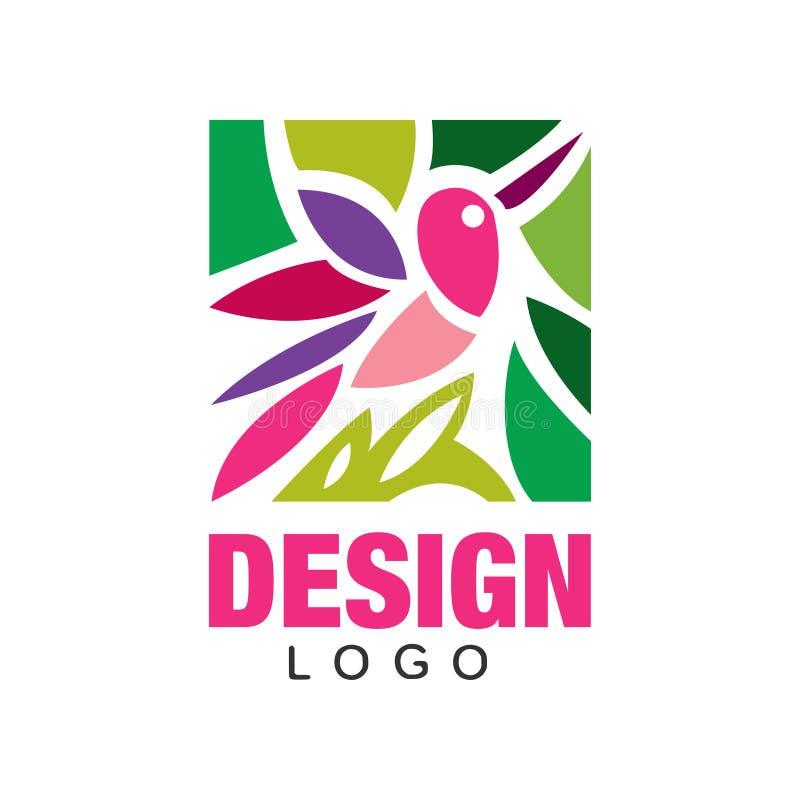 Projeto colorido do logotipo com o pássaro e as plantas cor-de-rosa abstratos Molde original da etiqueta na forma retangular Elem ilustração do vetor
