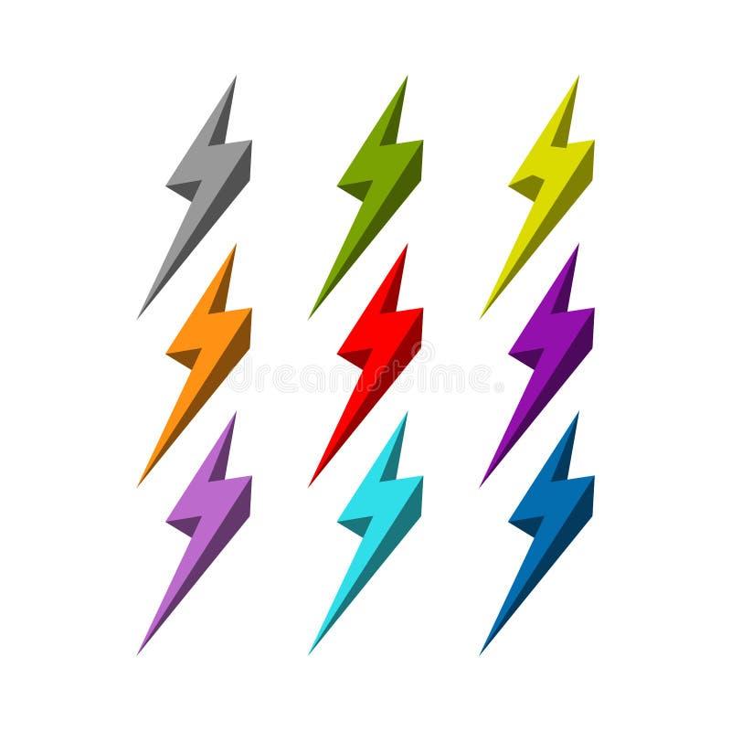 Projeto colorido do logotipo do parafuso, projeto do logotipo do relâmpago ilustração stock