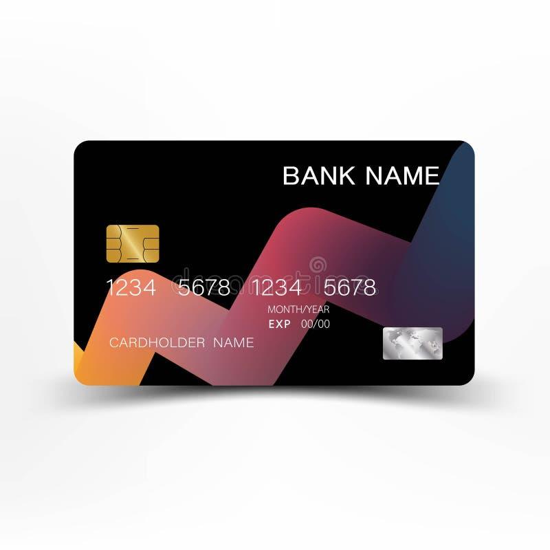 Projeto colorido do molde do cartão de crédito No fundo branco Ilustração do vetor Estilo plástico lustroso ilustração do vetor