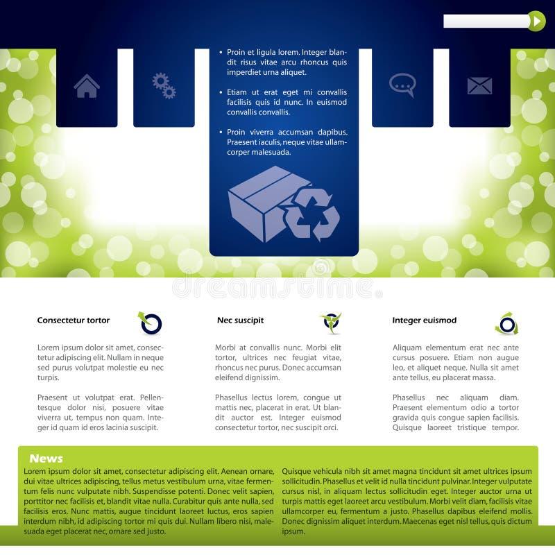 Projeto colorido do molde do Web site com produtos ilustração do vetor