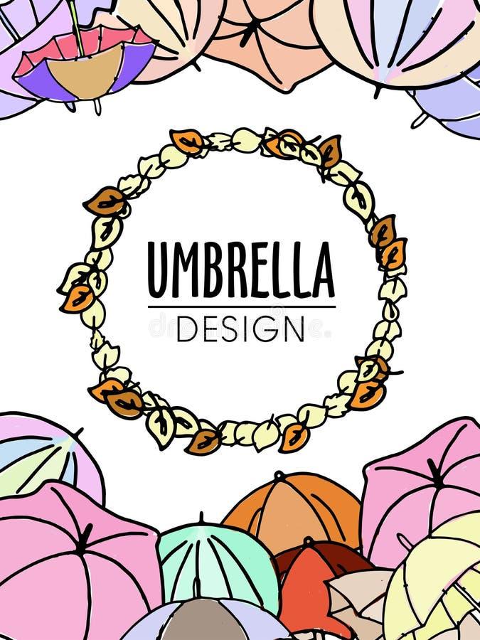 Projeto colorido do tema do outono dos guarda-chuvas em cores pastel macias ilustração royalty free