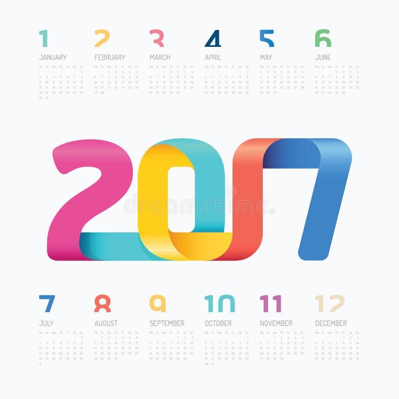 Projeto colorido do vetor do conceito da fita de 2017 calendários ilustração do vetor