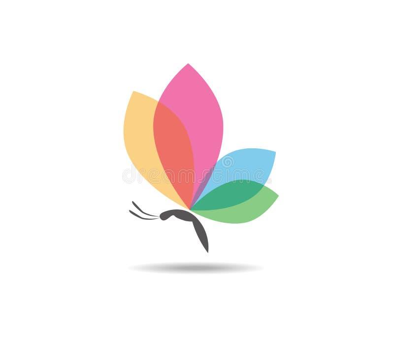 Projeto colorido majestoso gracioso bonito do logotipo do vetor da borboleta ilustração stock