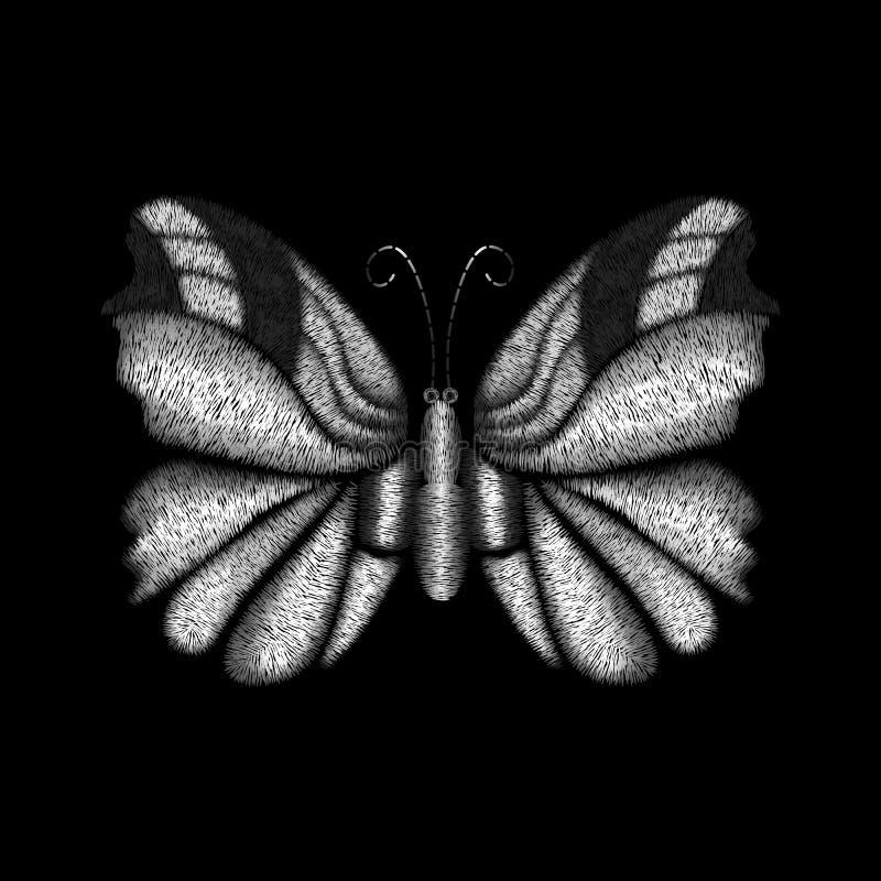 Projeto colorido prata da borboleta do bordado para a roupa ilustração royalty free