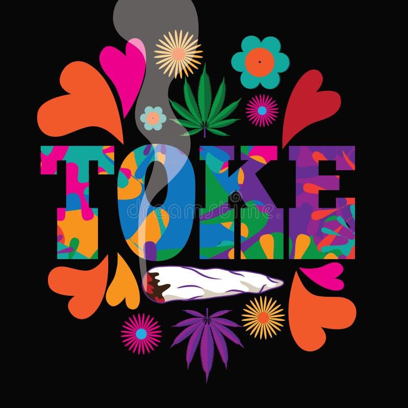 Projeto colorido psicadélico da marijuana de Toke do pop art da modificação do estilo dos anos sessenta ilustração royalty free