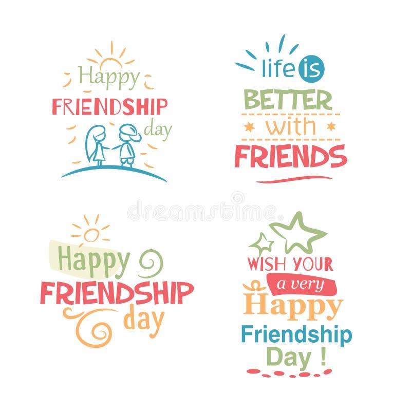 Projeto colorido tipográfico do vetor feliz do dia da amizade