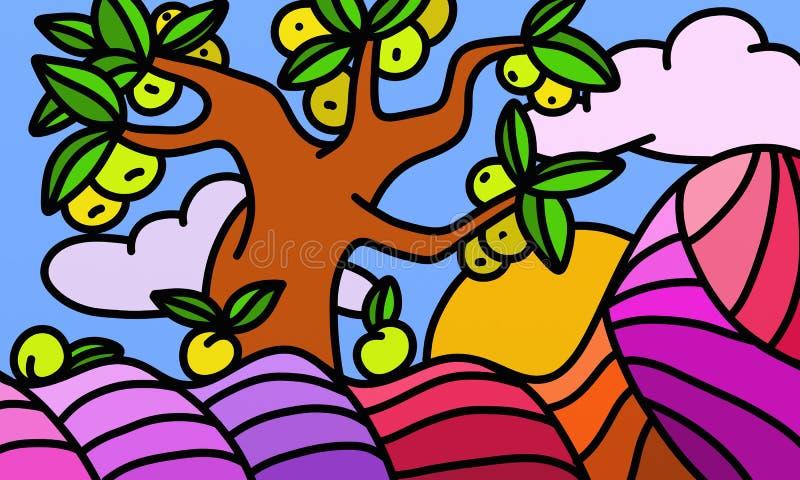 Projeto com árvore de maçã ilustração stock