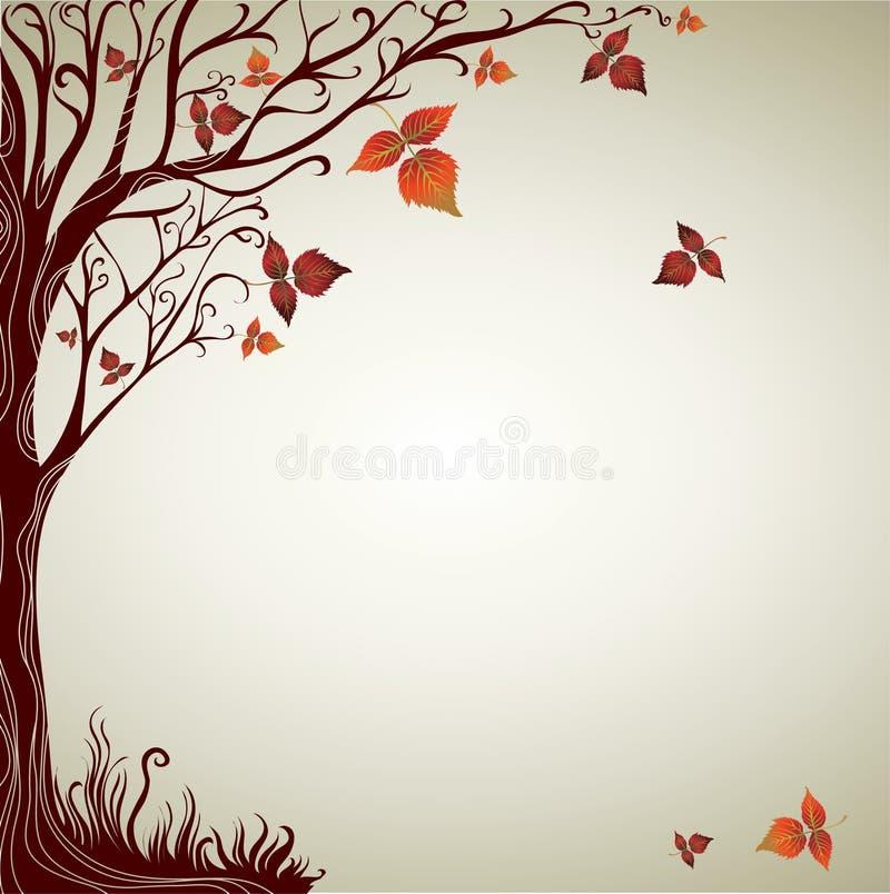 Projeto com a árvore decorativa das folhas do outono