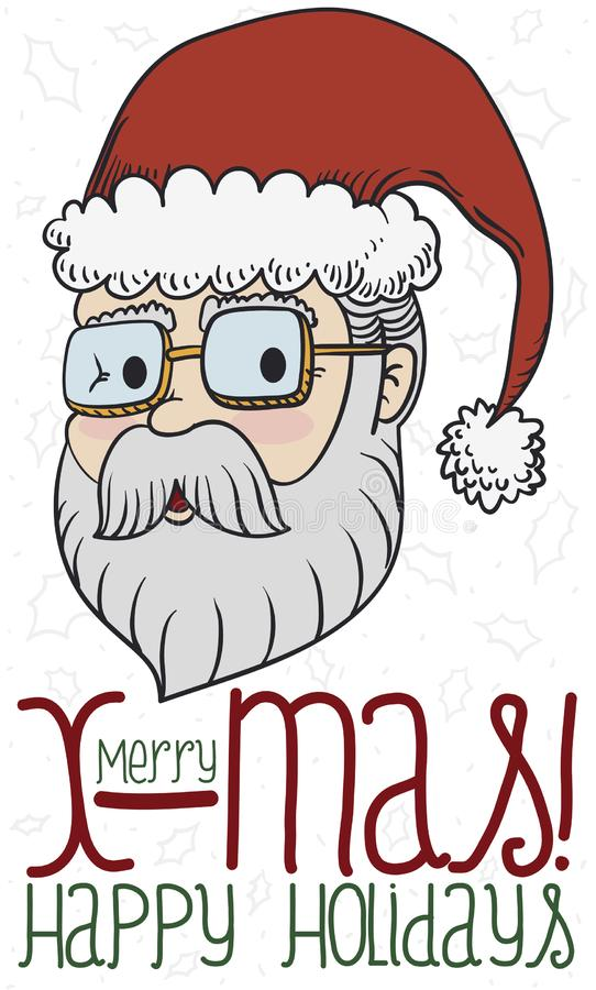 Projeto comemorativo do Natal com Santa Claus e Holly Leaves Pattern, ilustração do vetor ilustração do vetor