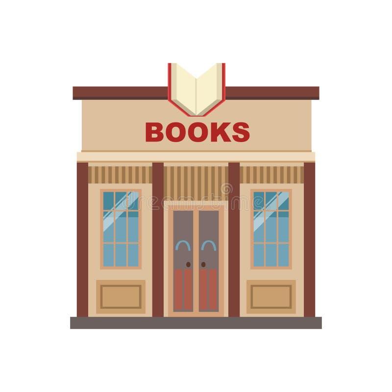 Projeto comercial da fachada da construção das livrarias ilustração do vetor