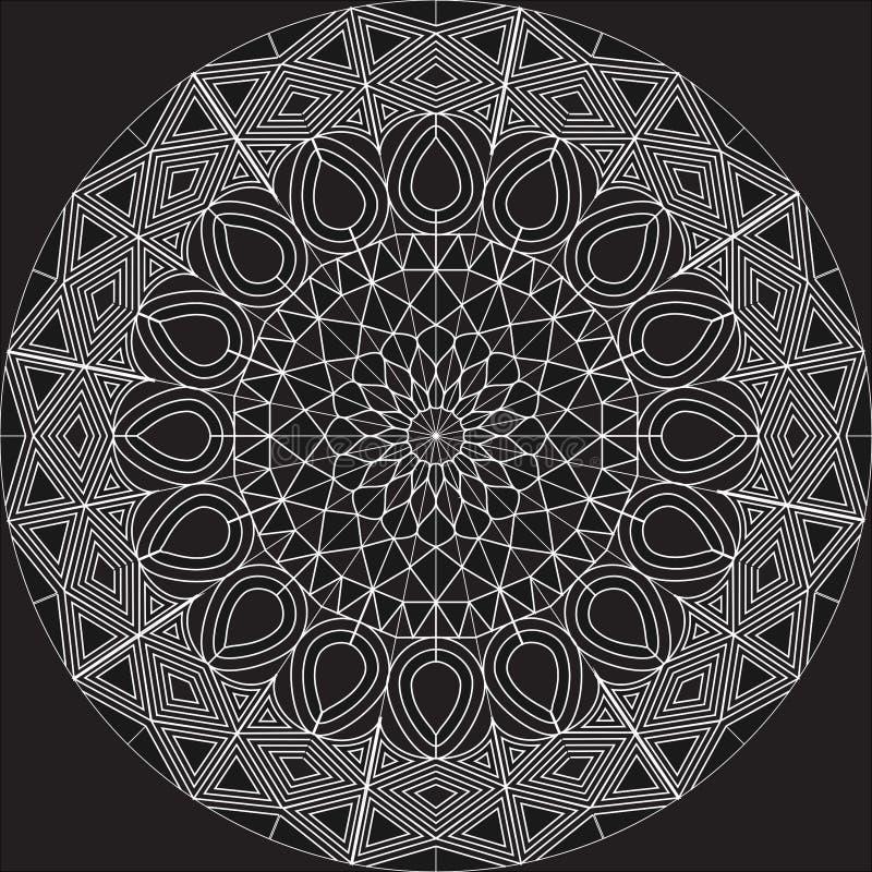 Projeto complexo branco da mandala no fundo vazio usando formas básicas ilustração royalty free