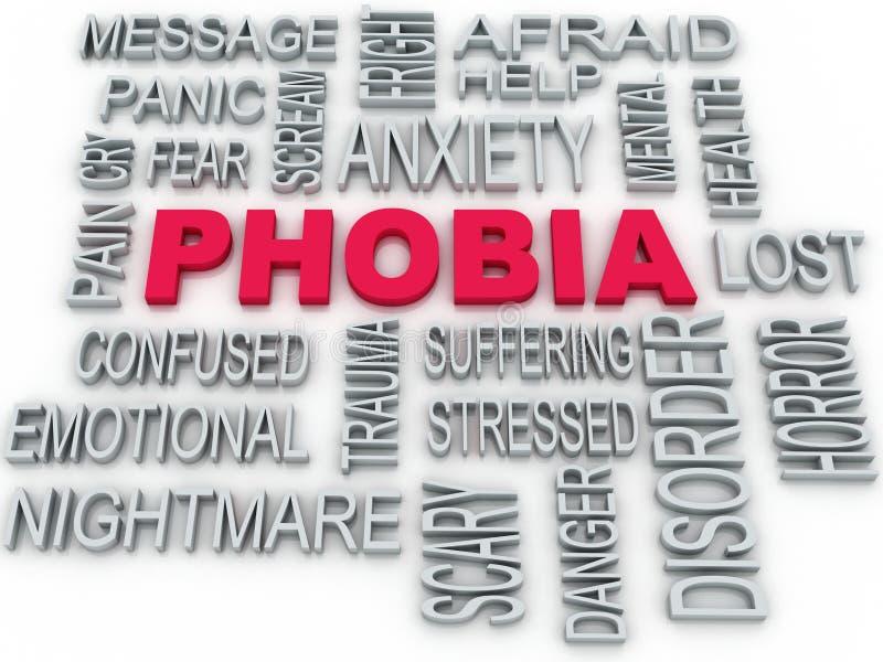 projeto conceptual do símbolo da fobia 3d no branco Di da ansiedade ilustração royalty free