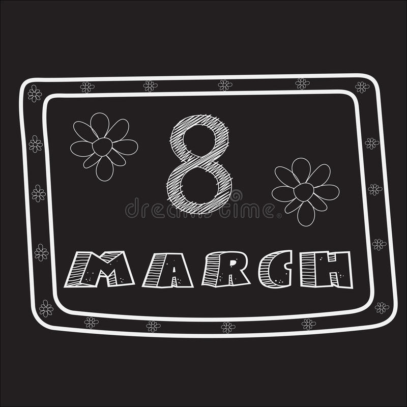 Projeto Conventionalized para o 8 de março feito no estilo do esboço gredoso na placa preta ilustração do vetor