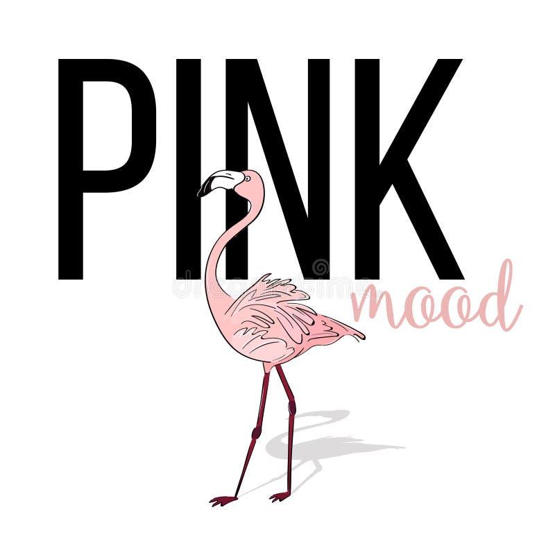 Projeto cor-de-rosa do flamingo do humor Pássaro exótico cor-de-rosa do vetor Cartão tropical do verão Animal bonito da ilha do j ilustração royalty free